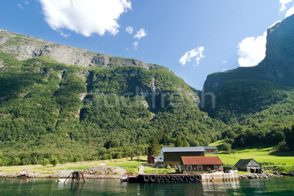 Mountain Fjord Farm Stock photo © SimpleFoto