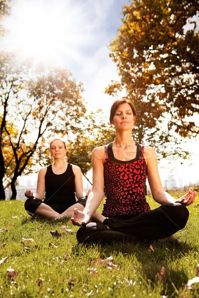 Stockfoto: Vrede · groep · mensen · mediteren · stad · park · meisje