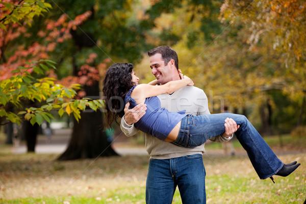 Foto stock: Hombre · mujer · parque · feliz · Pareja