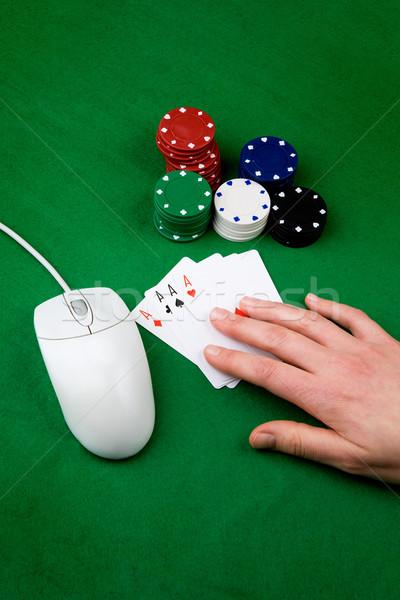 Сток-фото: онлайн · Gamble · игорный · Компьютерная · мышь · стороны · фишки · казино