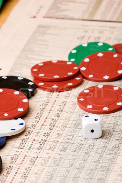 Фондовый рынок решение Dice фишки казино диаграммы деньги Сток-фото © SimpleFoto