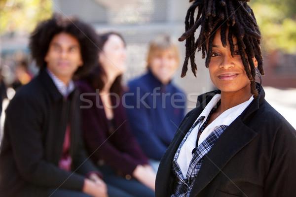 Négy személy egy nő pont csoport különböző fókusz Stock fotó © SimpleFoto