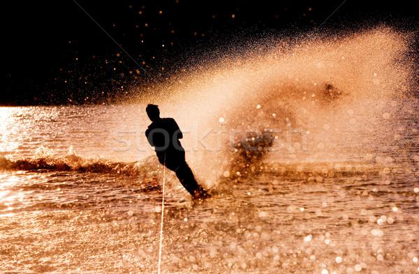 Water Skier Silhouette Stock photo © SimpleFoto