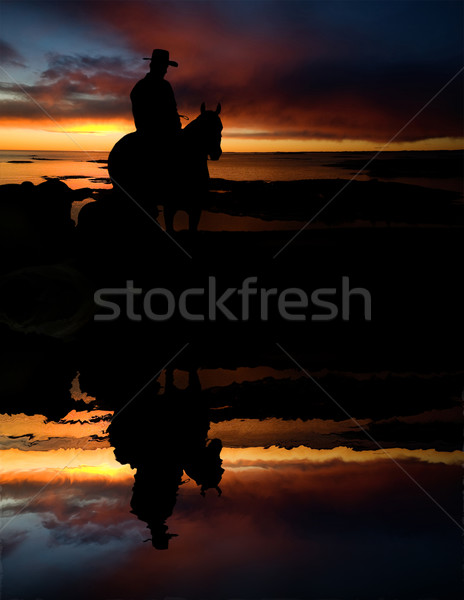 Cowboy at Watering Hole Stock photo © SimpleFoto