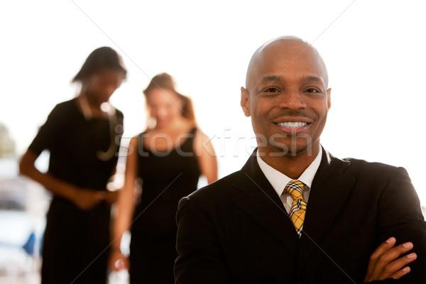 деловой человек афроамериканец коллеги улыбка человека город Сток-фото © SimpleFoto