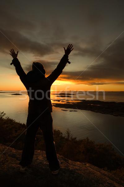 Ocean sylwetka uroczystości wybrzeża kobieta niebo Zdjęcia stock © SimpleFoto