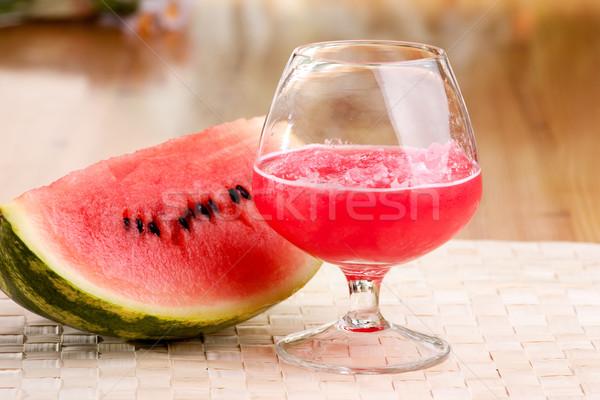 Watermeloen drinken Rood picknicktafel water partij Stockfoto © SimpleFoto