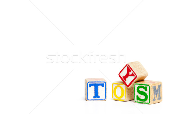 Stock fotó: Fa · építőkockák · izolált · fehér · helyesírás · szó