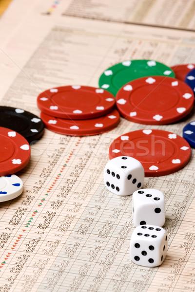 Stok fotoğraf: Borsa · karar · zarlar · casino · fişi · grafik · para