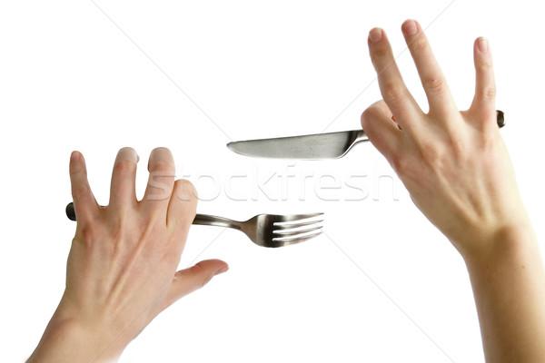 Kés villa kettő kínos kezek tart Stock fotó © SimpleFoto