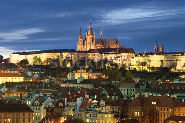 Прага замок Cityscape мнение рано вечер Сток-фото © SimpleFoto