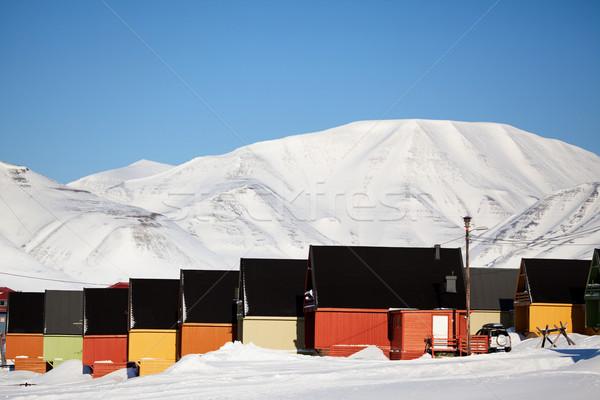Noruega casa ciudad paisaje nieve Foto stock © SimpleFoto