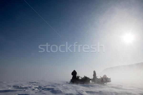 Kar fırtınası çift kış kar kadın Stok fotoğraf © SimpleFoto