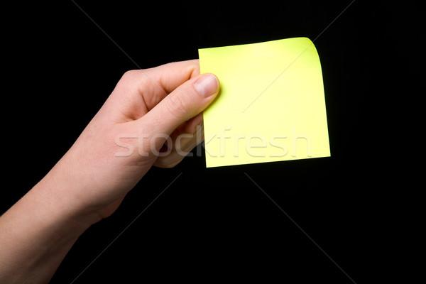 Tart öntapadó jegyzet leragasztott kéz női jegyzet Stock fotó © SimpleFoto