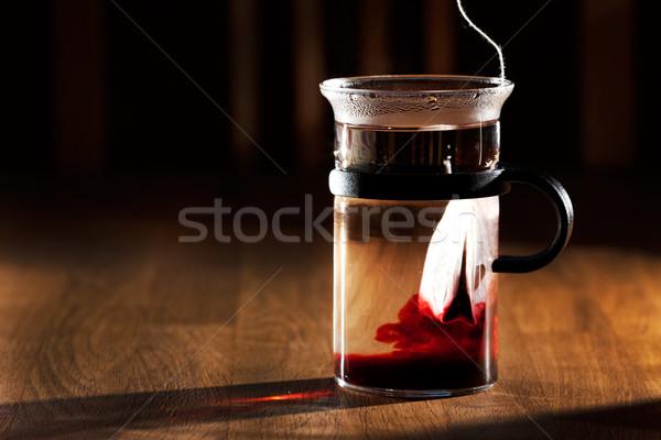 Thee zak beker heet water sterke ochtend Stockfoto © SimpleFoto