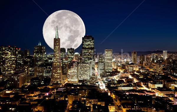 Volle maan stedelijke metropolis business gebouw stad Stockfoto © SimpleFoto