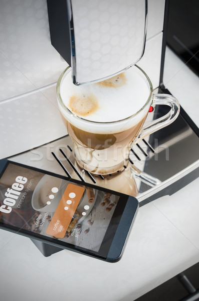 Making coffee from smartphone, modern coffee maker Stock photo © simpson33