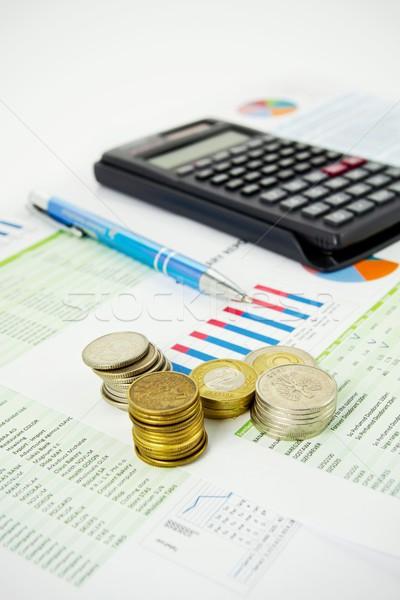 Rechner Stift Münzen farbenreich Business Executive Stock foto © simpson33