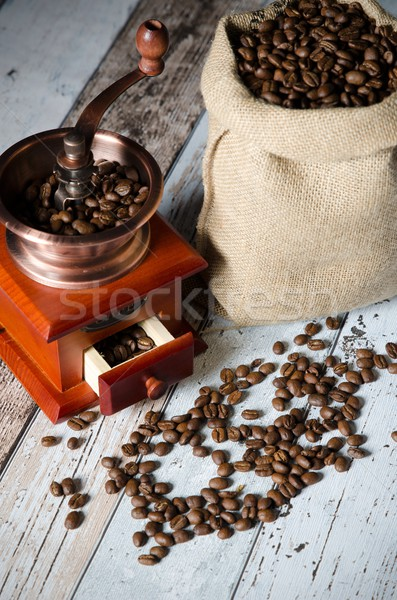 Stok fotoğraf: Kahve · öğütücü · fasulye · bağbozumu · değirmen