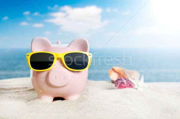 Banku piggy wakacje wakacje gospodarki okulary plaży Zdjęcia stock © simpson33