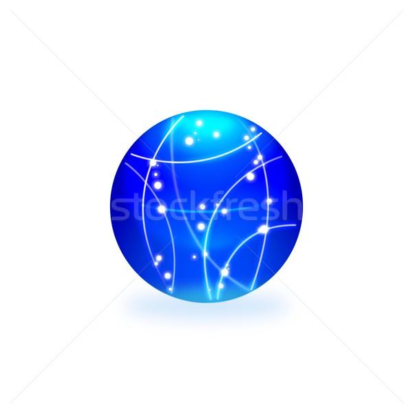 Absztrakt kék világítás gömb fehér fény Stock fotó © simpson33