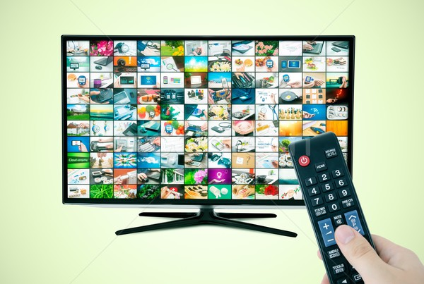 Widescreen high definition TV screen with video gallery. Stock photo © simpson33
