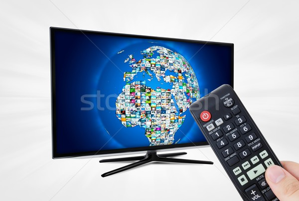 Widescreen high definition TV screen with sphere video gallery. Stock photo © simpson33
