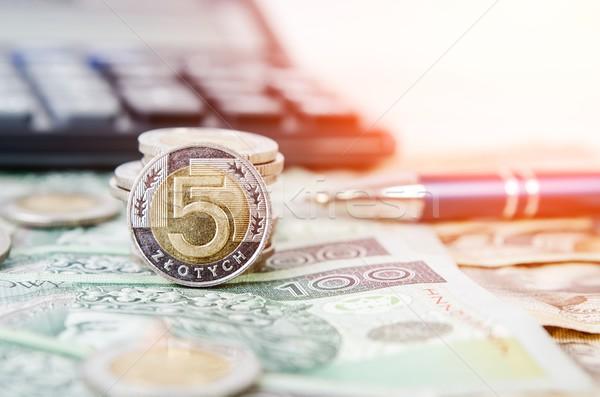 Stock photo: Polish money close up business composition