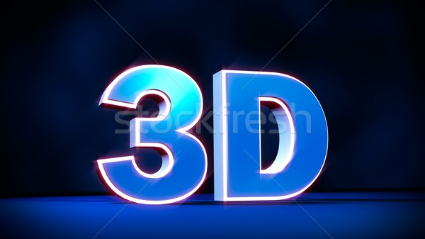 3D three-dimensional word with glowing letters. Concept for 3D t Stock photo © simpson33