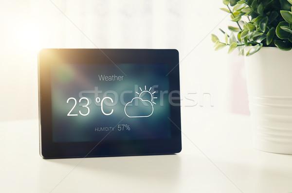 Időjárás állomás LCD kirakat otthon felszerlés Stock fotó © simpson33