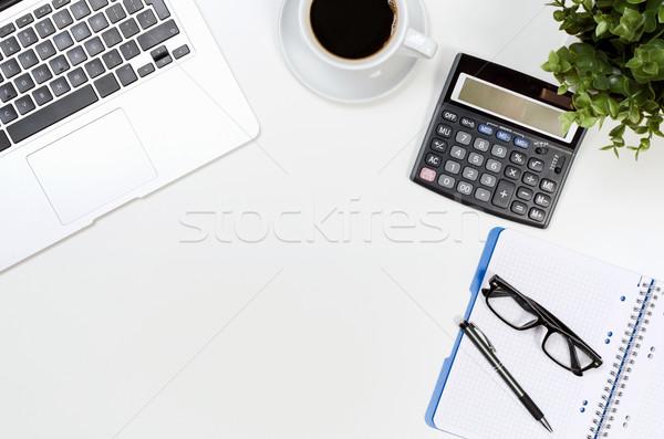Stockfoto: Tabel · laptop · koffiekopje · top