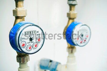 Sanitary equipment. Cold blue and red hot gauges Stock photo © simpson33