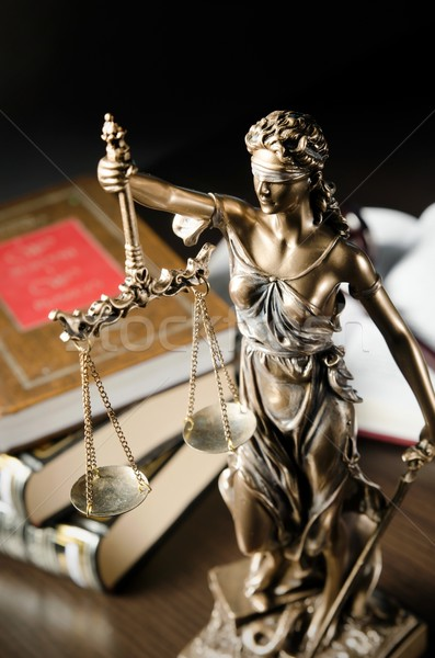Law concept with Themis and books in background Stock photo © simpson33