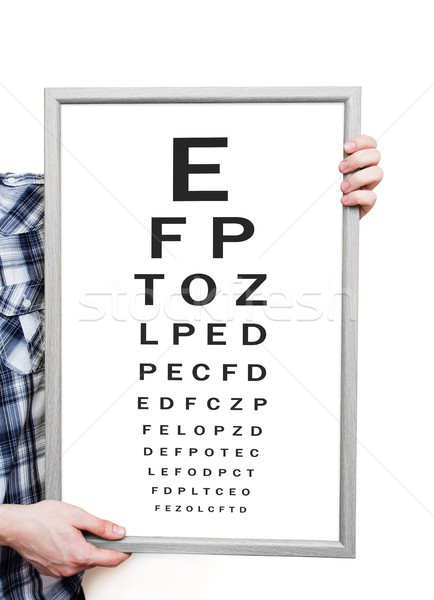 Man showing Snellen eye exam chart on white background Stock photo © simpson33