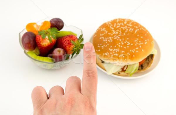 Foto stock: Dedo · escolher · hambúrguer · frutas · comida · branco
