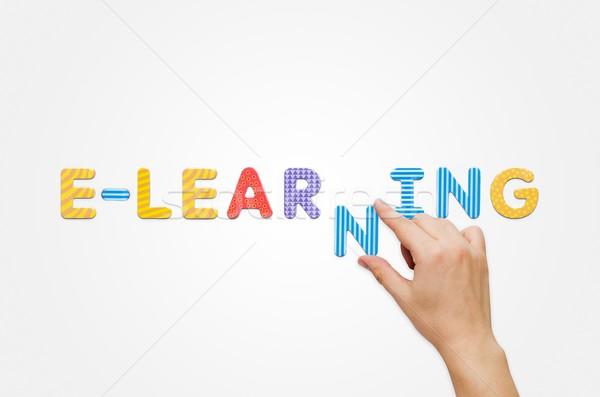 Kéz szó online oktatás mágneses levelek színes Stock fotó © simpson33