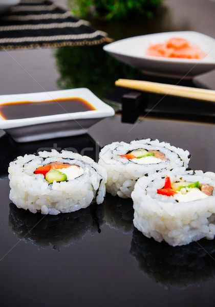 Sushi set with sticks and ginger Stock photo © simpson33