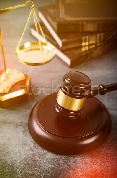 Gavel with books on grunge background Stock photo © simpson33