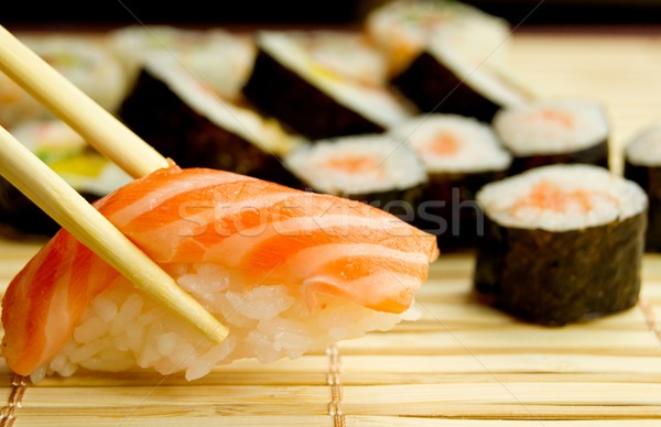 Japonais sushis thon bambou serviette Photo stock © simpson33