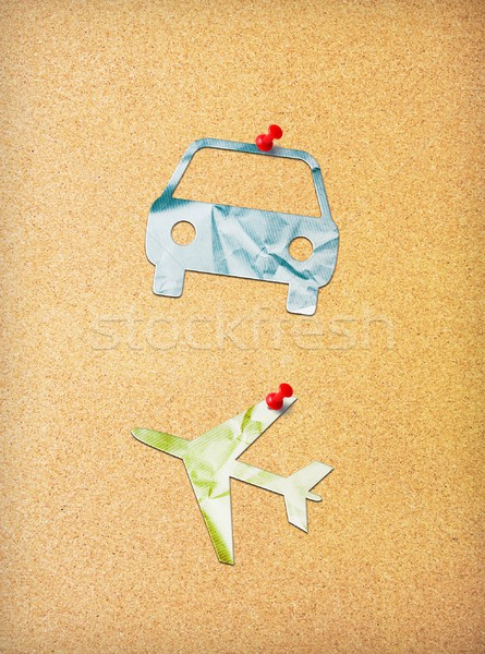 Travel symbols pinned to cork board Stock photo © simpson33