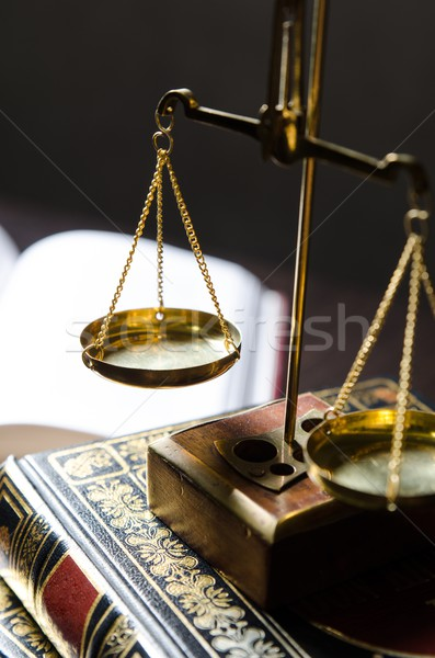 Weight scale and books. Scales of Justice composition Stock photo © simpson33