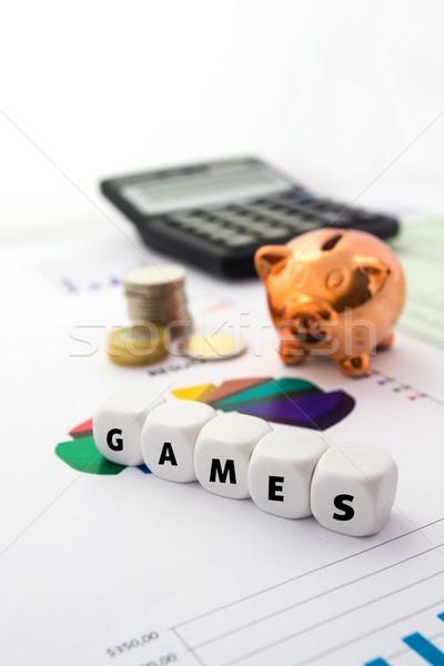 Játékok szó fehér csontok persely színes Stock fotó © simpson33
