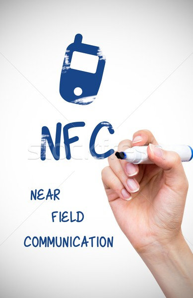 Hand drawing NFC payment technology content on white board Stock photo © simpson33