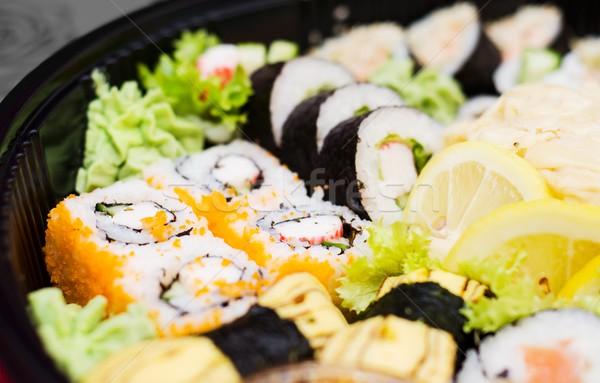 Close up of traditional japanese sushi set Stock photo © simpson33