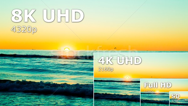 Compare of television resolution. uhd 8k television resolution u Stock photo © simpson33