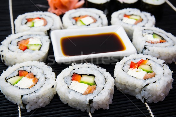 Sushi set with soy sauce Stock photo © simpson33