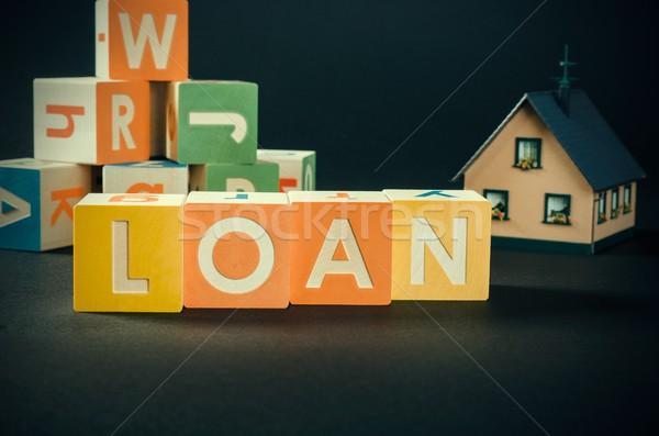 заем слово красочный блоки долг Сток-фото © simpson33