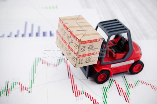 Targonca teherautó játékok dobozok nemzetközi szállítás Stock fotó © simpson33