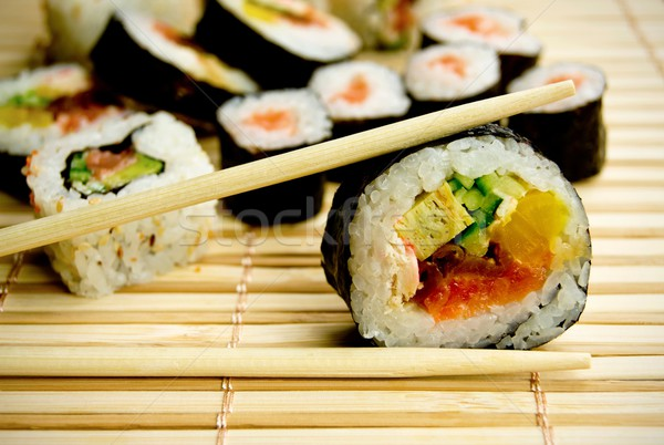 Traditional japanese sushi on bamboo napkin Stock photo © simpson33