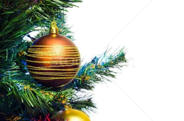 Noel ağacı önemsiz şey ağaç yeşil altın Stok fotoğraf © simpson33